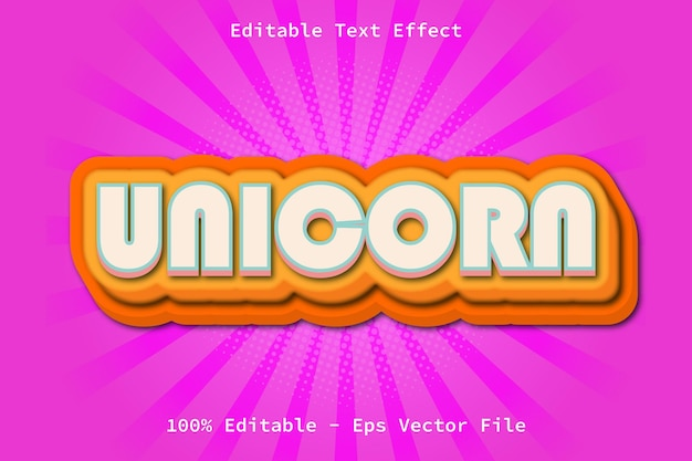 Unicorn with cartoon style editable text effect