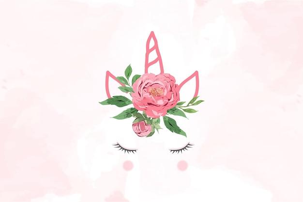 かわいい花の冠を持つユニコーン