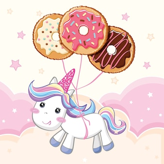 Unicorn with donut foil balloon background