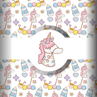 Unicorn with feedin bottle and baby things background