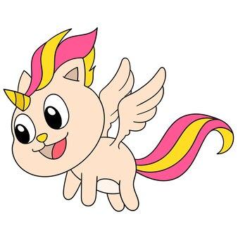 뿔이 있는 유니콘과 날개를 사용하여 날아다니는 귀여운 얼굴, 캐릭터 귀여운 낙서 그리기. 벡터 일러스트 레이 션