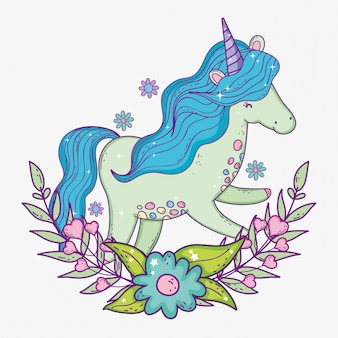 Unicorn with mane and branches leaves with flower