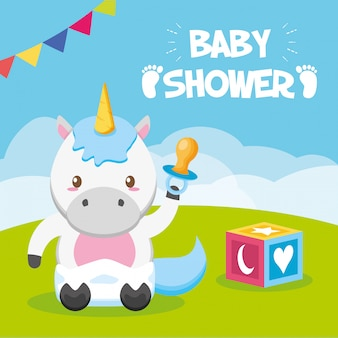 Unicorn with pacifier for baby shower card