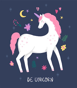 Unicorn with pink hair, flowers and moon. cute illustration for children