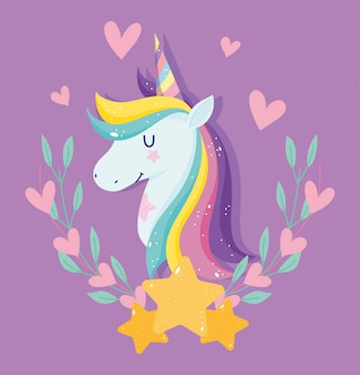 Unicorn with pink hearts