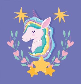 Unicorn with rainbow hair and hearts