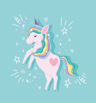 Unicorn with rainbow hair and stars