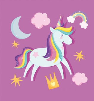 Unicorn with rainbow hair surrounded by stars, clouds and a crown