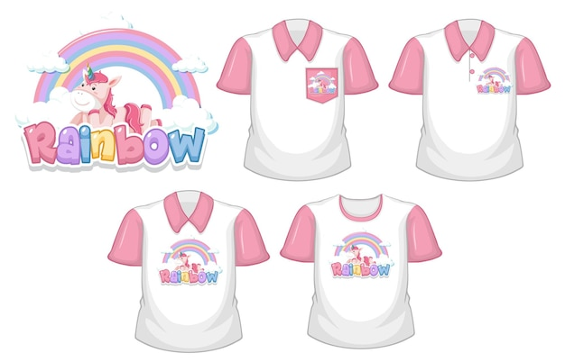 무지개 로고와 흰색 배경에 고립 된 분홍색 짧은 소매와 흰 셔츠 세트 유니콘
