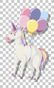 Unicorn with rainbow mane and balloons isolated on transparent background