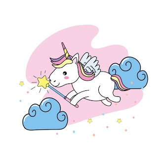 Unicorn with wings and magic wand