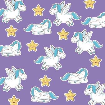 Unicorn with wings star kawaii seamless pattern purple background
