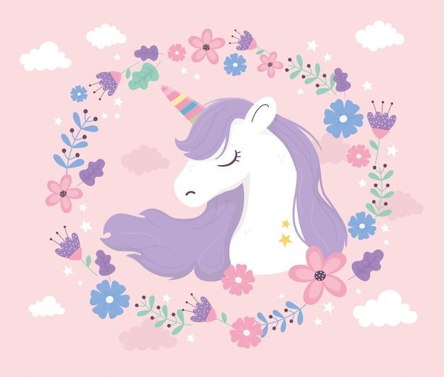Unicorn wreath flowers flora clouds fantasy magic dream cute cartoon portrait pink background illustration