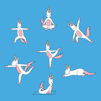 Unicorn in yoga pose set