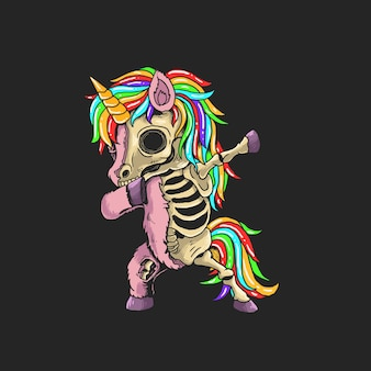 Unicorn zombie dabbing illustration