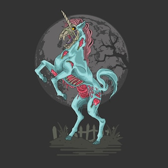 Unicorn zombie nightmare illustration
