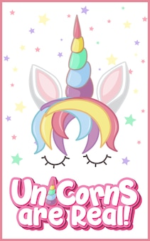 Unicorns are real logo with star confetti background in pastel color isolated