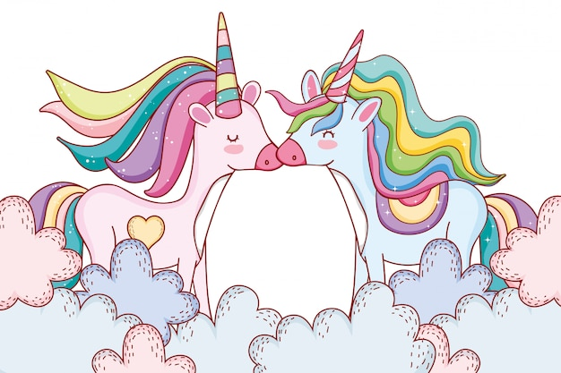 Unicorns on clouds