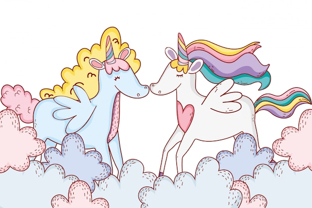 Unicorns on clouds