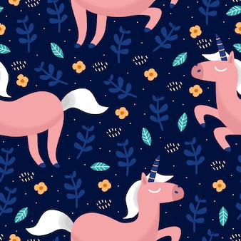 Unicorns on a dark background with a fairy forest pattern
