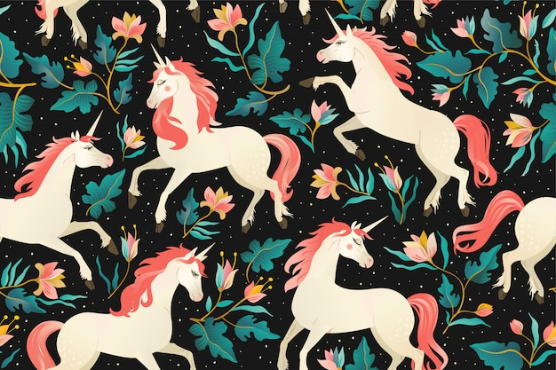 Unicorns on a dark seamless pattern