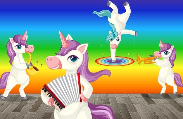Unicorni che fanno diverse attività su sfondo sfumato arcobaleno