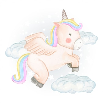 ユニコーンは水彩イラストで雲の上を飛ぶ