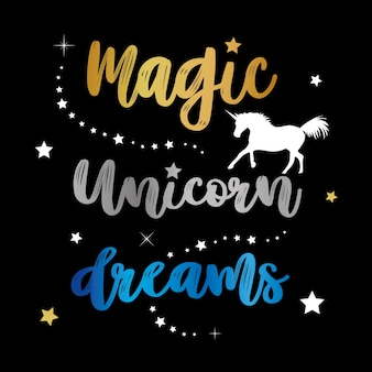 Unicorns horse cute dream fantasy cartoon character vector