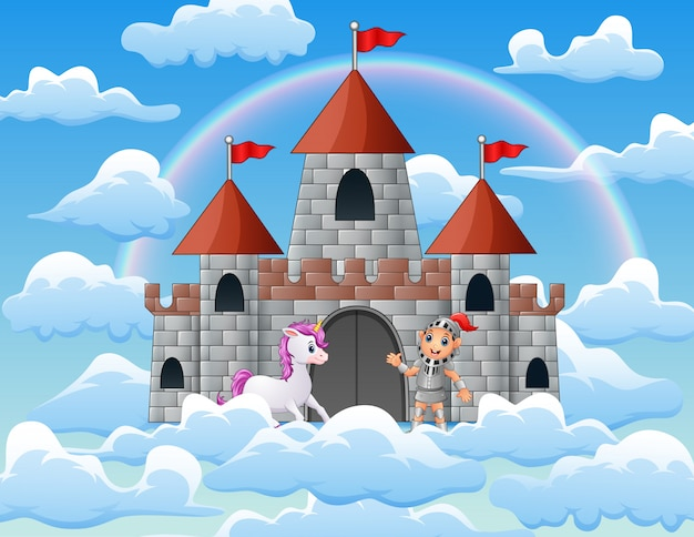 Unicorns and knights in the palace on the clouds
