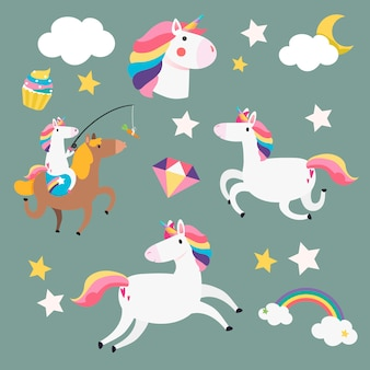 Unicorns and magical elements vector