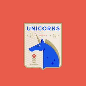 Unicorns medeival sports team emblem abstract sign, symbol or logo template with horned horse in a shield.