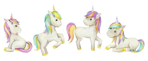 Единороги, на изолированном фоне. акварельные иллюстрации в мультяшном стиле. модные разноцветные лошадки.