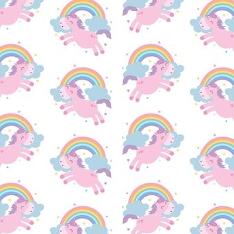 Единороги узоры фон с радугой. векторная иллюстрация