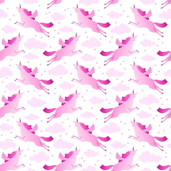 Unicorns pink and white seamless pattern