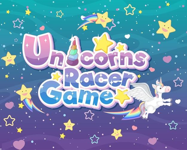 Unicorns racer game logo or banner