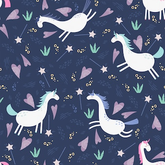 Unicorns seamless pattern