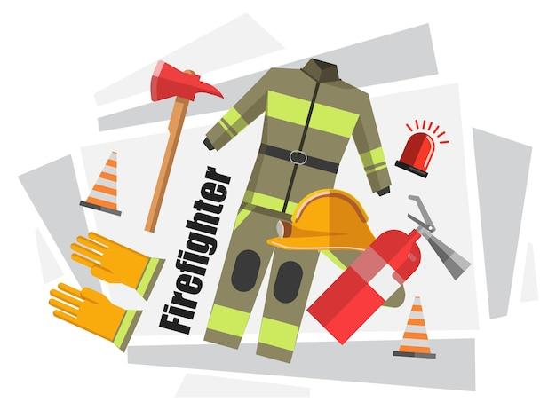 Форма пожарного, защитный костюм со шлемом, резиновые перчатки. оборудование и инструменты для безопасной работы, огнетушитель, пластиковый конус, сирена сигнализации и топор с деревянной ручкой. вектор в плоском стиле
