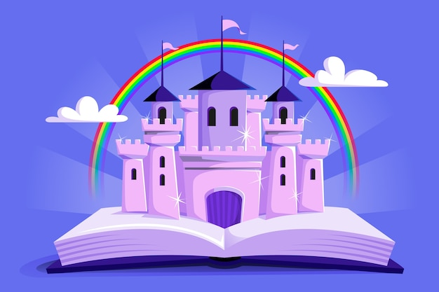 Unimaginary fairtytale castle and rainbow