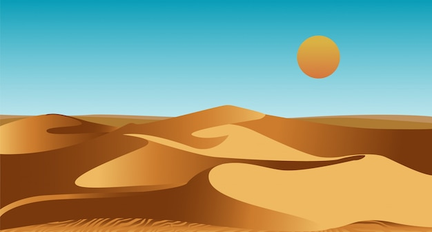 Uninhabited african desert with sand dunes and scorching sun in sky. summer landscape or scenery with barchans. natural decorative  template. colorful flat cartoon  illustration.