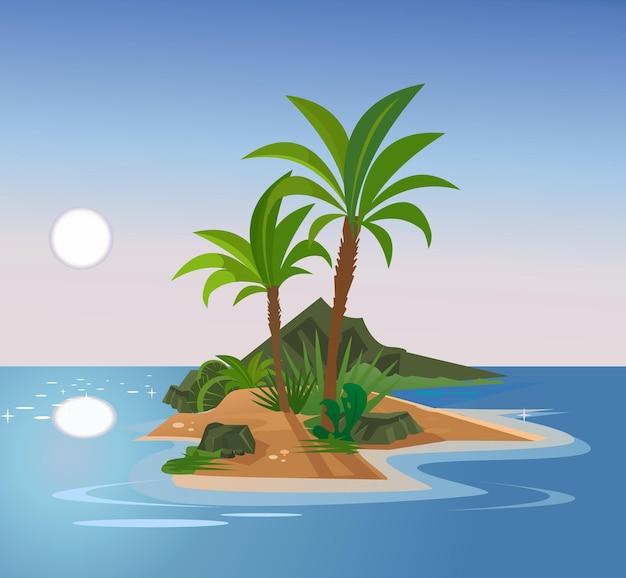 Необитаемый остров плоский мультфильм иллюстрация