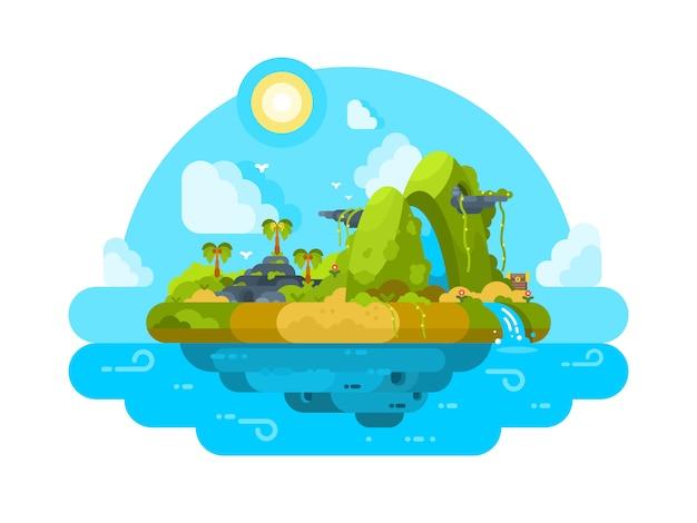 Необитаемый остров в океане. зеленая растительность, пальмы и камни. иллюстрация