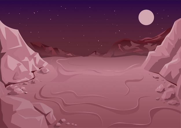 Uninhabited planet in space, martian night