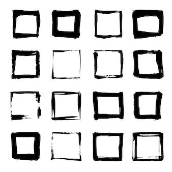 Уникальные нарисованные вручную квадраты для дизайна логотипа. отдельные векторные иллюстрации на белом фоне.