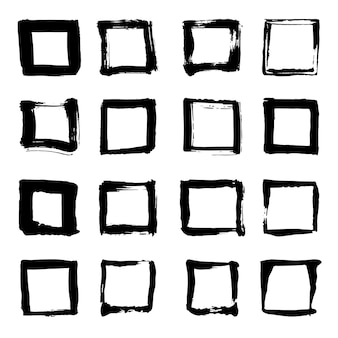 Uniqiue handdrawn shapes of squares for logo design. isolated vector illustration on white background.