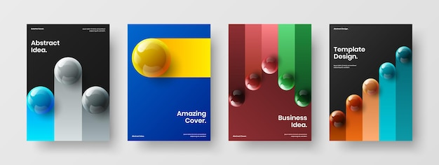 Unique 3d spheres annual report illustration composition