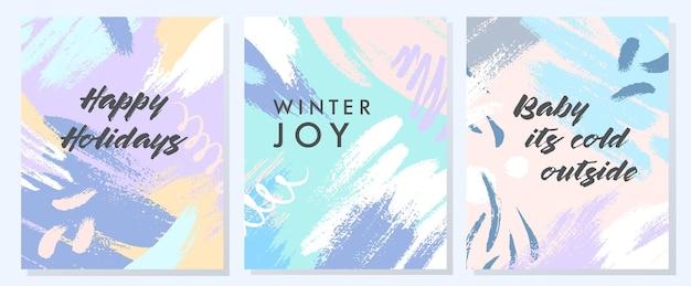 Уникальные художественные праздничные открытки с нарисованными вручную формами и текстурами в мягких пастельных тонах. модный дизайн для поздравлений, идеально подходящий для принтов, листовок, баннеров, приглашений, специальных предложений и многого другого. векторные коллажи.
