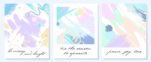 Unique artistic holidays cards with hand drawn shapes and textures in soft pastel colors.trendy greetings design