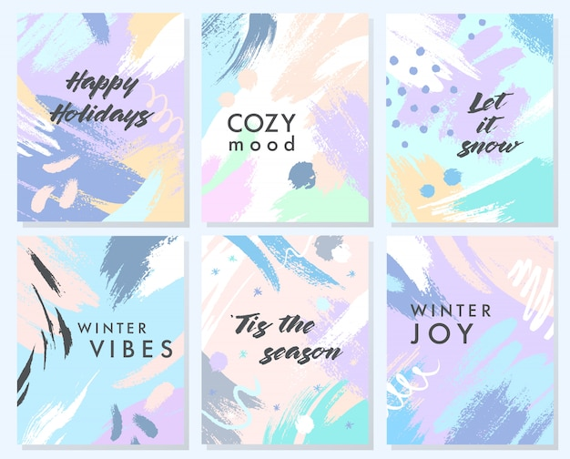 Unique artistic holidays cards with hand drawn shapes and textures in soft pastel colors.