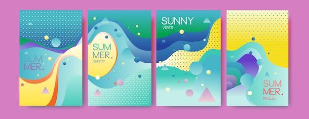 Unique artistic summer cards in memphis style