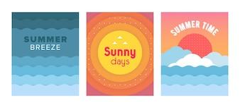 明るい勾配で設定されたユニークな芸術的な夏のカード